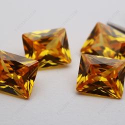Cubic Zirconia Golden Yellow Rectangle Princess Cut 9x11mm stones CZ05 IMG_4731