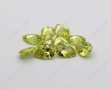 Cubic Zirconia Apple green Yellowish Pear Shape faceted cut 10x7mm stones CZ41 IMG_1800