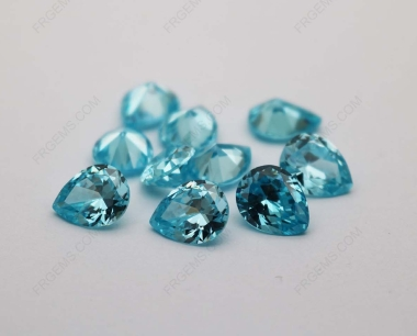Cubic Zirconia Aquamarine Pear Shape faceted cut 10x8mm stones CZ38 IMG_2931