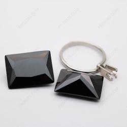 Cubic Zirconia Black Color Rectangle Shape faceted 20x15mm Stones CZ02 IMG_2975