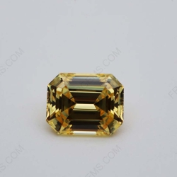 Cubic Zirconia 5A best quality Canary Fancy Yellow hexagon Shape Asscher Cut 10x8mm stones CZ06 IMG_0573