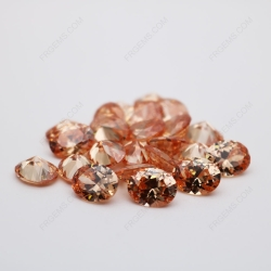 Cubic Zirconia Champagne Oval Shape faceted Cut 9x7mm stones China manufacturers CZ13 IMG_0398