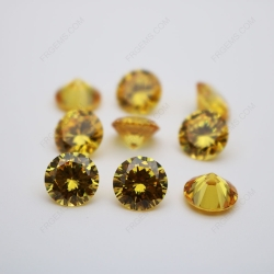 Cubic Zirconia Golden Yellow Round Shape faceted diamond Cut 10mm stones CZ05 IMG_0230