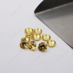 Cubic Zirconia  5A best quality Golden Yellow Round Shape faceted diamond Cut 6.50mm stones CZ05 IMG_3472