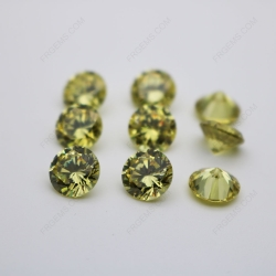 Cubic Zirconia Olive Yellow Round Shape Diamond faceted Cut 10mm stones CZ25 IMG_0240