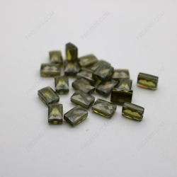 Cubic Zirconia Peridot Rectangle Shape Double Checkerboard faceted cut 9x6mm stones CZ27 IMG_2774