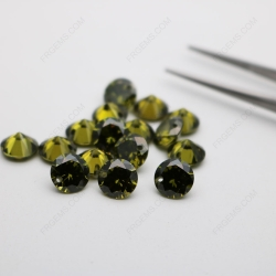 Cubic Zirconia Peridot Round Shape faceted diamond cut with drilled hole 8mm stones CZ27 IMG_1346