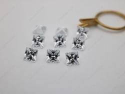 Cubic Zirconia White Color 5A Best Quality Square Shape faceted Princess Cut 7x7mm stones CZ01 IMG_1986