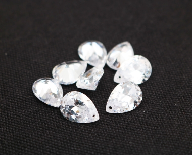 Cubic Zirconia White Color Pear Shape Faceted diamond Cut drilled holes 10x7mm stones CZ01 IMG_0995
