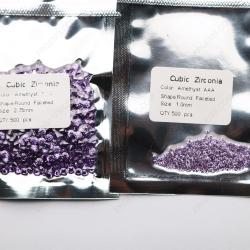 Cubic Zirconia Amethyst 2.75mm Round stones VS 1.00mm Round stones CZ10 IMG_3802