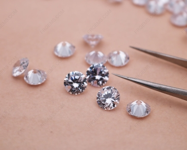 Loose Cubic Zirconia White Color Round Shape Faceted diamond Cut drilled holes 8mm stones CZ01 IMG_0993