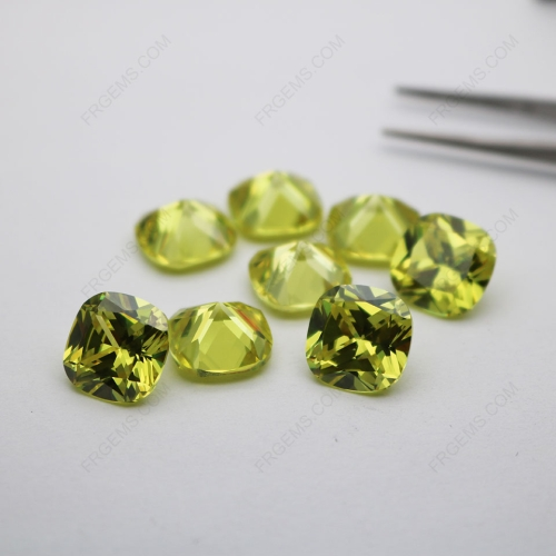 Loose CZ Cubic Zirconia Apple Green Cushion Shape Faceted Cut 12x12mm stones CZ42 IMG_4809