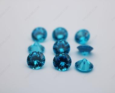 Cubic Zirconia Aquamarine Dark Shade Round Diamond faceted cut 10mm stones CZ39 IMG_0195