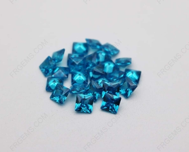 Cubic Zirconia Aquamarine Dark Shade Square faceted cut 7x7mm stones CZ39 IMG_1252