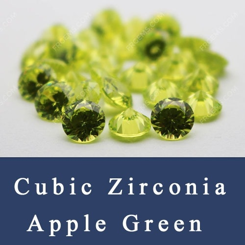 Cubic Zirconia Apple Green Color CZ Loose Stones China Wholesale and Supplier