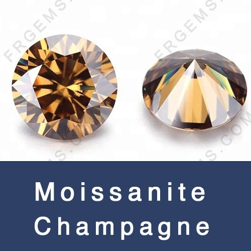 Loose Moissanite Champagne Color Round and Champagne Color Moissanite Gemstones wholesale from China