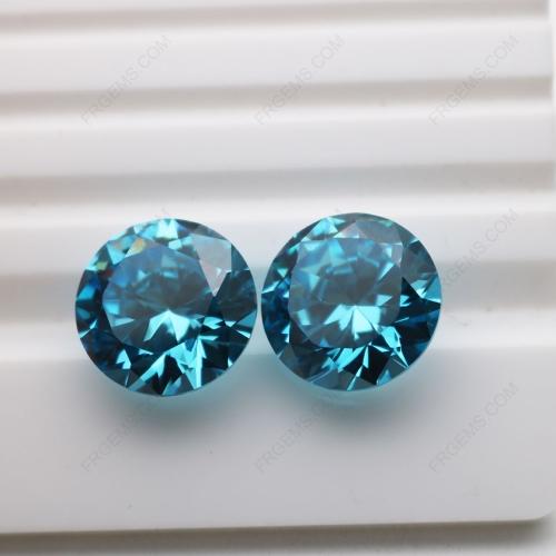 Cubic Zirconia Aquamarine Round Diamond faceted cut 15mm stones CZ38 IMG_4869