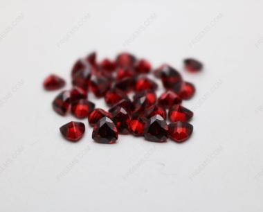 Cubic Zirconia Garnet Red Dark Shade Trillion Shape Diamond faceted cut 5x5mm stones CZ23 IMG_4905