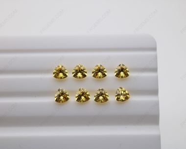 Cubic Zirconia Golden Yellow Trillion Shape Diamond faceted cut 5x5mm stones CZ05 IMG_4898