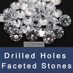 Cubic Zirconia White and Colored faceted gemstones with drilled holes wholesale from China