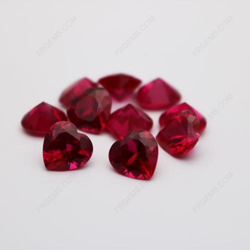 Loose Synthetic Corundum Ruby Red 5# Heart Shape Faceted Cut 8x8mm stones IMG_0417