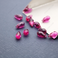 Loose Harden Glass dark Red color Faceted Teardrop with drilled hole beads 9x5mm wholesale from china