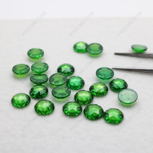 Loose Cubic Zirconia Emerald Green Color Round Rose cut faceted 8mm gemstones IMG_5054