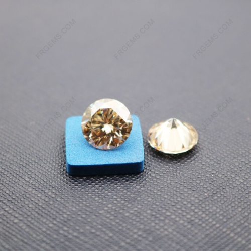 Loose Moissanite Champagne Color Round Shape Faceted Brilliant Cut 10mm 4ct weight gemstones