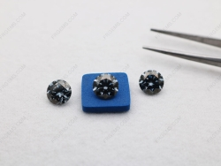 Loose Moissanite Dark Gray Color Round Shape Faceted Brilliant Cut 8mm 2ct weight gemstones