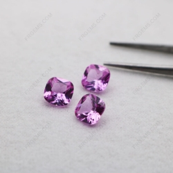 Loose Synthetic Lab Pink Sapphire Corundum 2# Cushion Shape Faceted 8x8mm gemstones IMG_5070