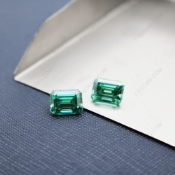 Loose Moissanite Green Color Octagon Shape Emerald Cut 9x7mm 3ct weight gemstones wholesale