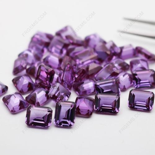 Synthetic Corundum Alexandrite Color change 46# Emerald Cut 8x6mm Gemstones