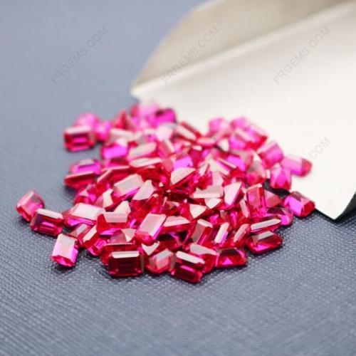 Loose Synthetic Corundum Ruby Red 5# Octagon shape Emerald cut 4x6mm gemstones