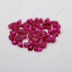 Synthetic Corundum Ruby Red Color # Pear Shape Cabochon 3x5mm Gemstones IMG_4981
