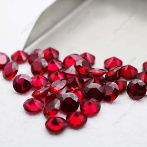 Loose Synthetic Corundum Ruby Dark Red 8# Round Faceted Cut 8.00mm 2ct weight stones wholesale
