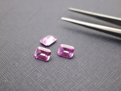 Loose Synthetic Lab Pink Sapphire Corundum 2# Octagon Shape Emerald Cut 8x6mm gemstones IMG_5069