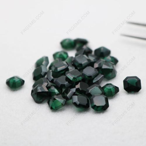 Loose Synthetic Spinel Green Tourmaline Asscher Cut 7x7mm gemstones