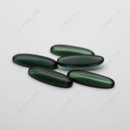 Loose Synthetic  Spinel Green 152# dark color Tourmaline Oval shape cabochon 20x7mm gemstones China Supplier