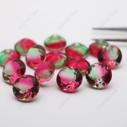 Synthetic Watermelon Tourmaline Glass BiColor BX04 Round Faceted 12mm Loose gemstones wholesale gemstones