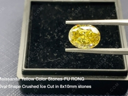 Yellow Color Moissanite Oval shape crushed ice cut 10x8mm Loose gemstone wholesale from China