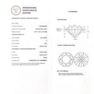 Lab Grown Diamond IGI Certificate