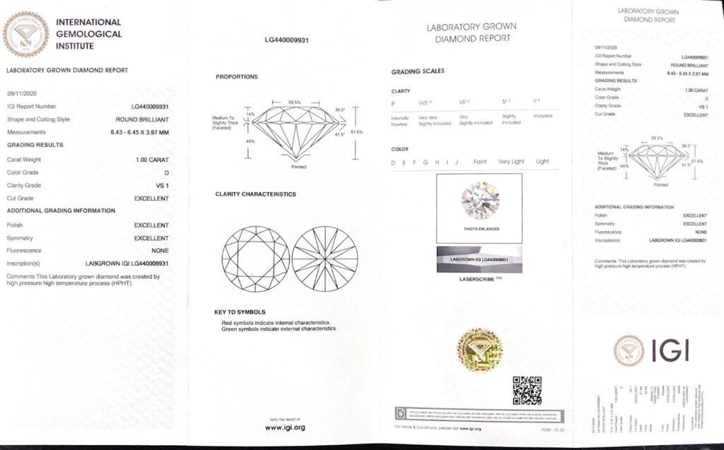 Lab Grown Diamond IGI Certificate China
