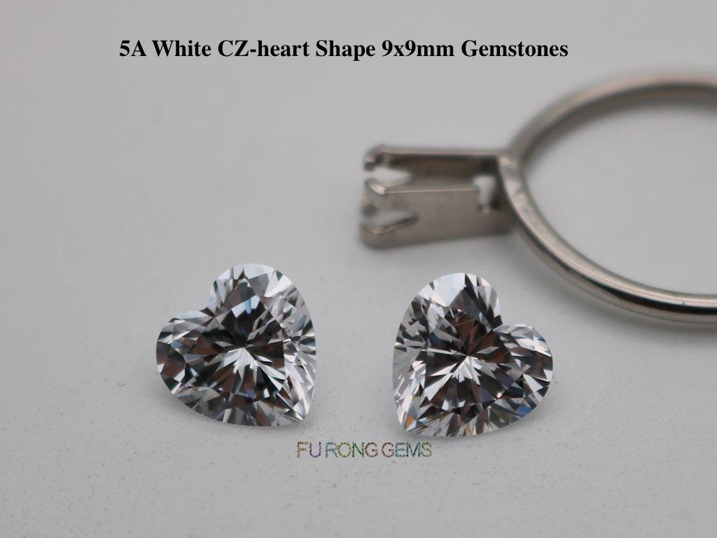 5A-Best-quality-White-CZ-heart-Shape-9x9mm-Gemstones-wholesale