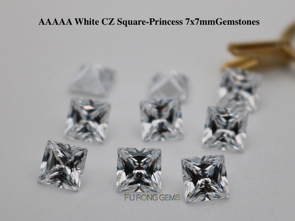 AAAAA-Highest-quality-White-CZ-Square-Princess-7x7mm-Gemstones-for-sale