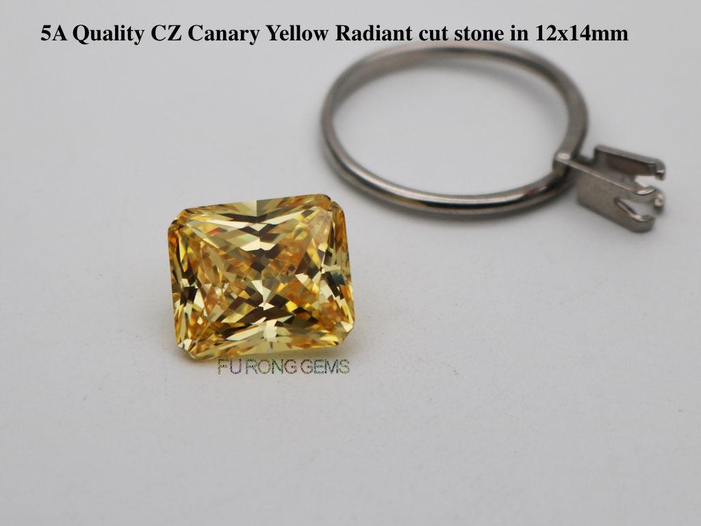 AAAAA-Quality-Cubic-zirconia-Canary-Yellow-Radiant-cut-stone-12x14mm
