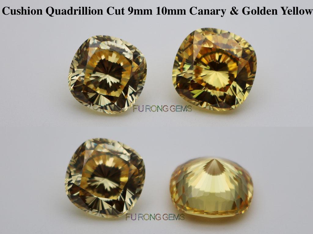 Cubic-Zirconia-Canary-Yellow-Golden-Yellow-Cushion-Shape-Quadrillion-cut-Gemstones