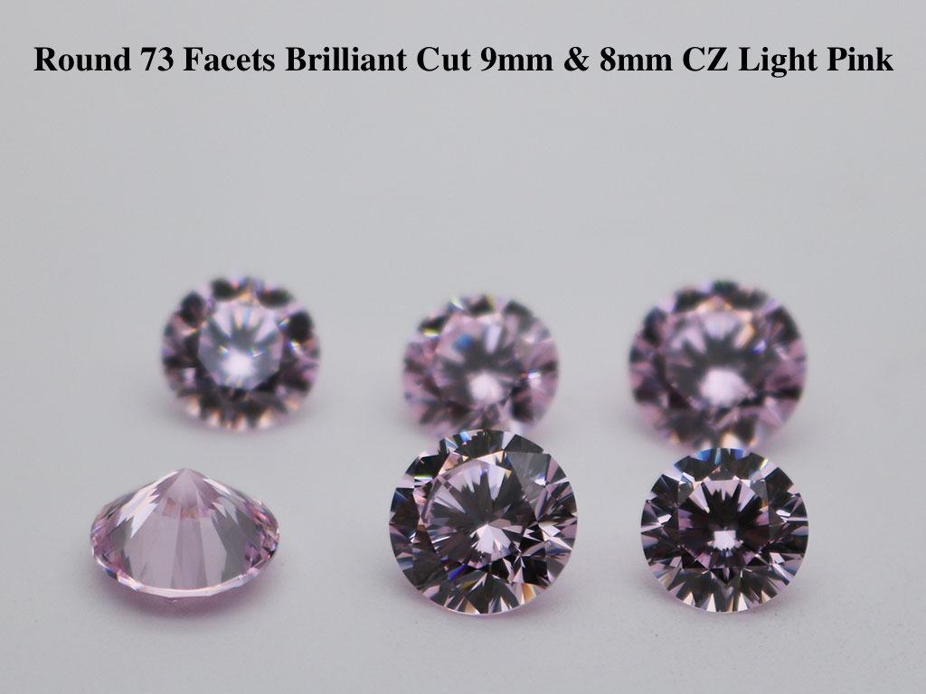 Cubic-Zirconia-Light-Pink-Color-Round-73-facets-brilliant-cut-gemstones