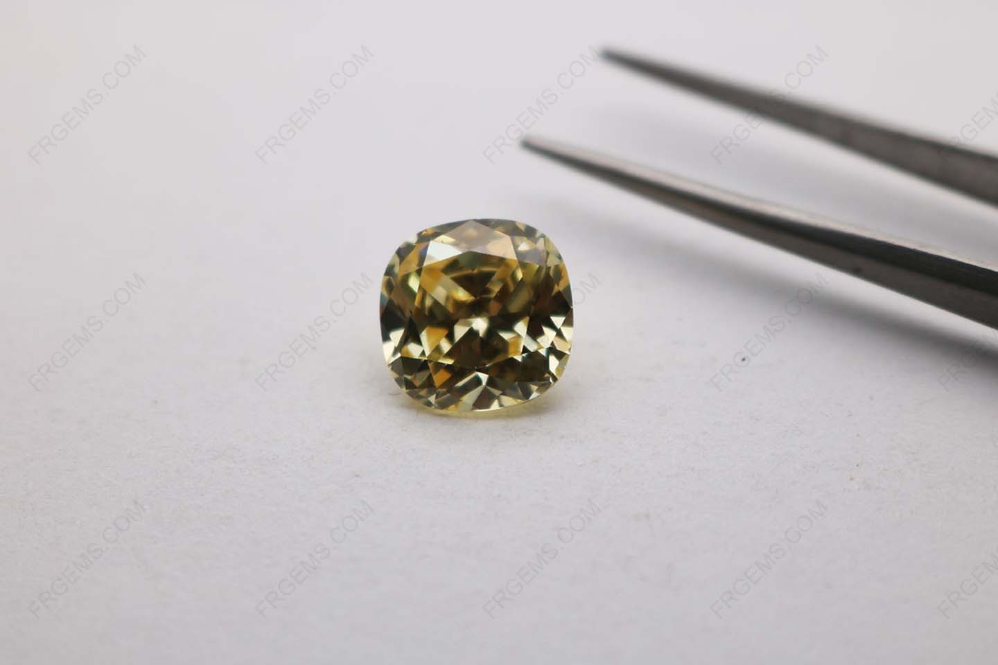 Cubic Zirconia Canary Yellow 3A Cushion Shape Diamond Faceted Cut 12x12mm stones CZ06 IMG_3918