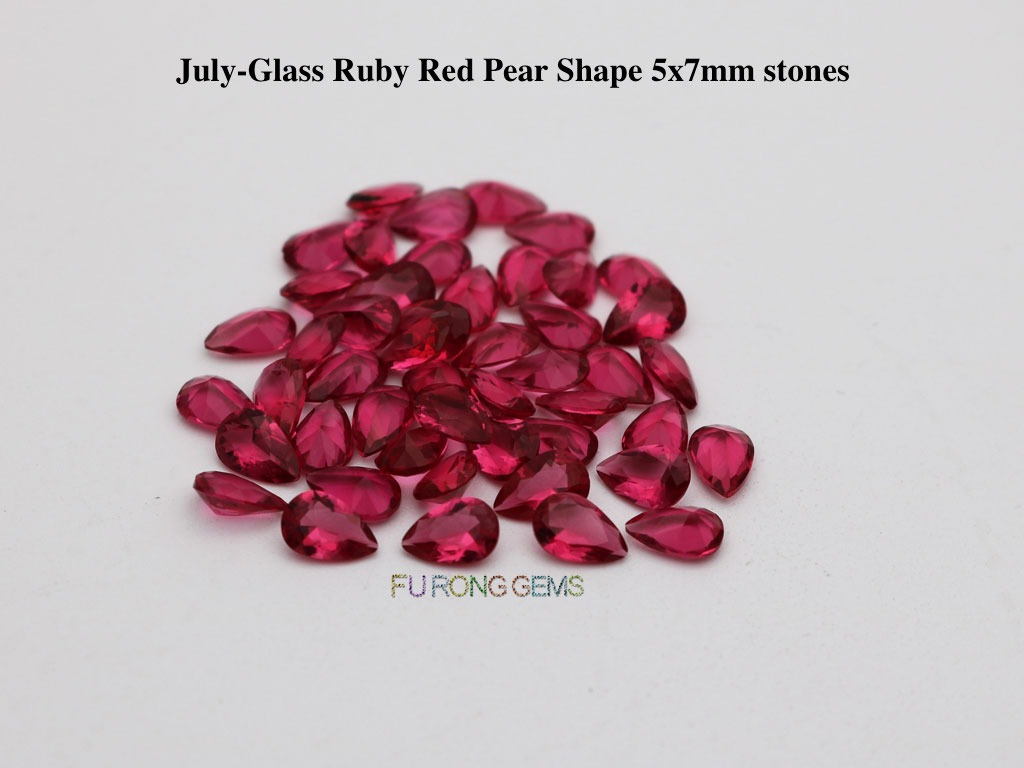 Glass-ruby-Red-pear-7x5mm-stones-supplier
