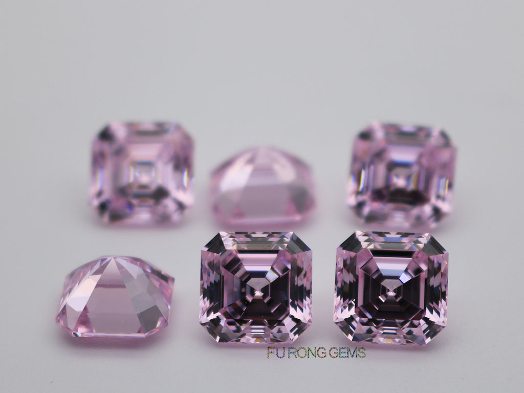 Light-pink-color-loose-cubic-zirconia-asscher-10x10mm-gemstones-suppliers